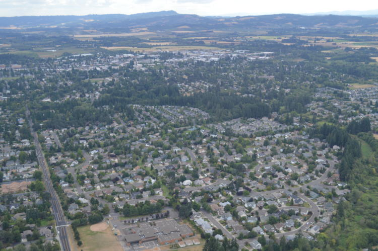 Aerial View of Hillsboro, Oregon.